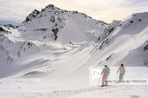 Skitourengeher im Schnee  hinten Klammspitzen  Wattentaler Lizum  Tuxer Alpen  Tirol  Österreich  Europa