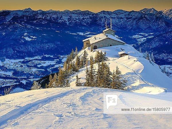Kehlsteinhaus  einsame Skispur am Kehlstein  Winterlandschaft  Nationalpark Berchtesgaden  Berchtesgadener Alpen  Schönau am Königssee  Berchtesgadener Land  Oberbayern  Bayern  Deutschland  Europa