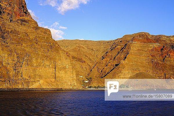 Playa de Argaga und Argaga-Schlucht bei Vueltas  Valle Gran Rey  La Gomera  Kanaren  Spanien  Europa