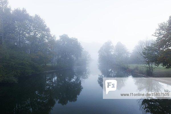 Loisach im Nebel  Kochel am See  Loisachtal  Oberbayern  Bayern  Deutschland  Europa