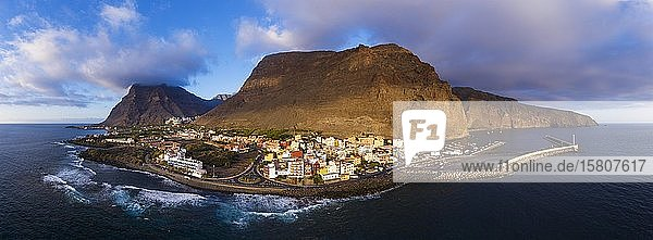 Panorama in the evening light  Vueltas with harbour  Valle Gran Rey  aerial view  La Gomera  Canary Islands  Spain  Europe