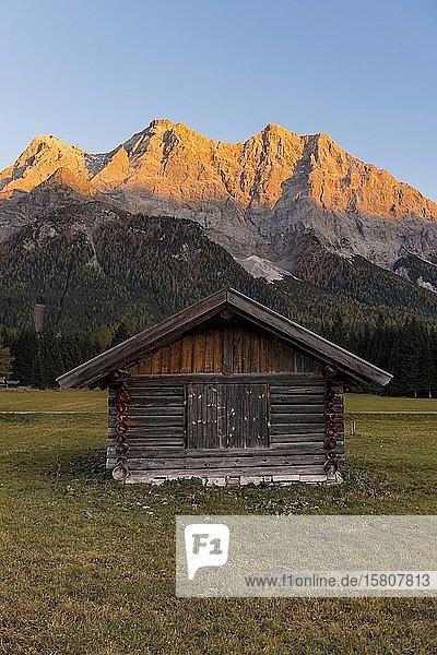 Wiese mit Heustadl  Sonnenuntergang an der Zugspitze  Wettersteingebirge  Werdenfelser Land  Oberbayern  Bayern  Deutschland  Europa