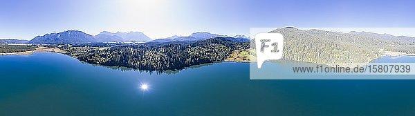 360 Grad Panorama vom Barmsee  bei Krün  Werdenfelser Land  Drohnenaufnahme  Oberbayern  Bayern  Deutschland  Europa