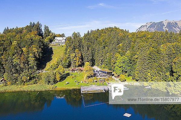 Gasthaus Seeblick und Naturbad am Freibergsee  bei Oberstdorf  Drohnenaufnahme  Oberallgäu  Allgäu  Schwaben  Bayern  Deutschland  Europa