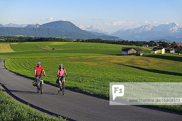 Couple with electric bikes at Sulzberg  Obertrum  in the background the Berchtesgaden Alps and the Dachstein Mountains  Salzburg Lakeland  Salzburger Land  Austria  Europe