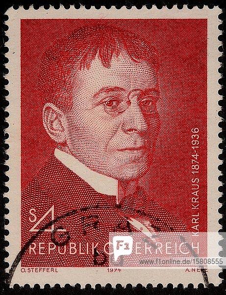 Karl Kraus  ein österreichischer Schriftsteller und Journalist  Porträt auf einer österreichischen Briefmarke