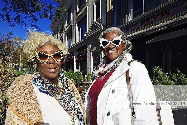 Older woman with freaky glasses  Harlem  Manhattan  New York City  New York State  USA  North America