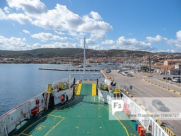 View from the ferry to the harbour  Sardinia  Italy  Europe