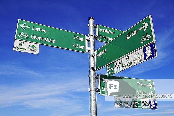 Cycle paths signposted near Schleedorf  Salzburg Lakeland  Salzburger Land  Austria  Europe