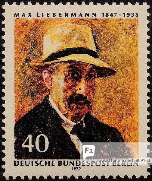 Max Liebermann  ein deutscher Maler und Grafiker aschkenasischer jüdischer Abstammung  Porträt auf einer deutschen Briefmarke