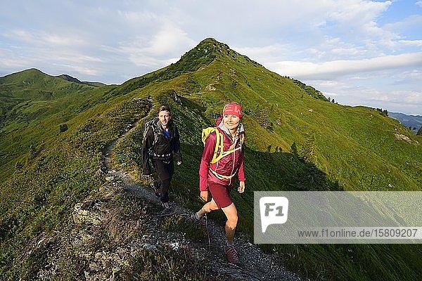 Wanderer beim Aufstieg zum Feldalphorn  Kelchsau  Kitzbüheler Alpen  Tirol  Österreich  Europa