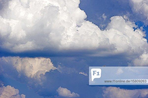 Gewitterwolken  Cumulonimbus  Passagierflugzeug der Fluggesellschaft British Airways über Flughafen München  Freising  Oberbayern  Bayern  Deutschland  Europa