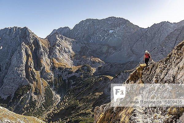 Bergsteigerin mit Kletterhelm läuft an steilem Berghang  Wanderweg zur Ehrwalder Sonnenspitze  Ehrwald  Mieminger Kette  Tirol  Österreich  Europa