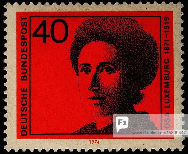 Rosa Luxemburg  eine polnische Marxistin  Philosophin  Wirtschaftswissenschaftlerin  Antikriegsaktivistin und revolutionäre Sozialistin  Porträt auf einer deutschen Briefmarke