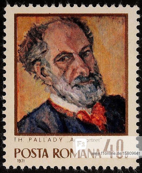 Theodor Pallady  ein rumänischer Maler  Porträt auf einer rumänischen Briefmarke