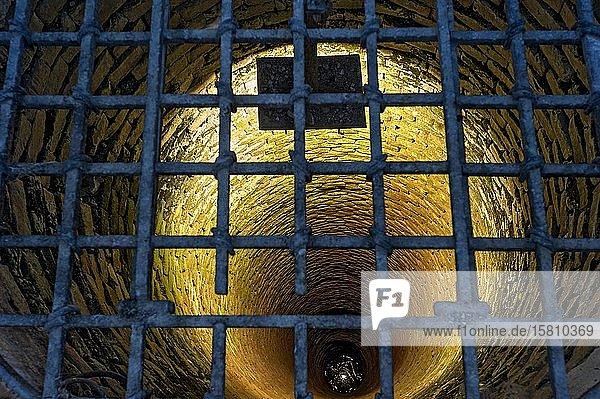 Blick in den Burgbrunnen der Mindelburg  mittelalterliche Ritterburg  Georgenberg  Mindelheim  Schwaben  Bayern  Deutschland  Europa