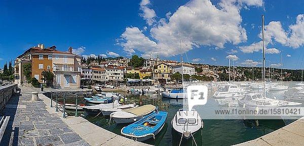 Port and village view  Volosko near Opatija  Istria  Kvarner Gulf Bay  Croatian Adriatic Sea  Croatia  Europe