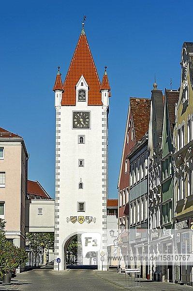 Oberes Tor  mittelalterliches Stadttor  Altstadt  Mindelheim  Schwaben  Bayern  Deutschland  Europa