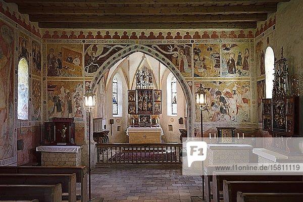 Altar of the pilgrimage church Sankt Servatius  Schleching  Chiemgau  Upper Bavaria  Bavaria  Germany  Europe