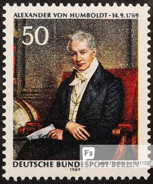 Alexander von Humboldt  ein deutscher Naturforscher und Entdecker  Porträt auf einer deutschen Briefmarke