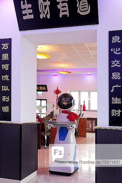Catering Service-Roboter mit einem Tablett in einem chinesischen Restaurant  Deutschland  Europa
