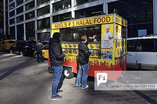 Food Stall  Imbiss-Stand  Wall Street  Manhattan  New York City  New York State  USA  Nordamerika