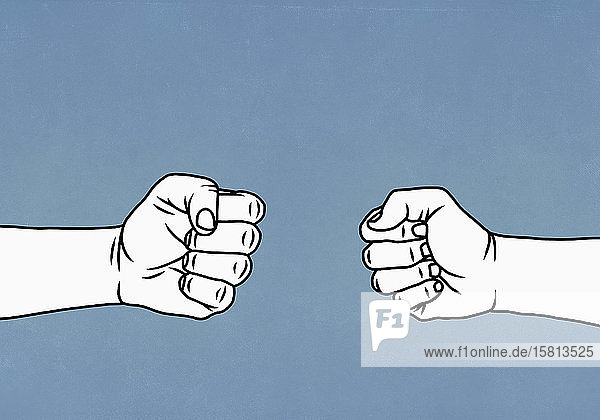 Konfrontative Hände bilden Fäuste