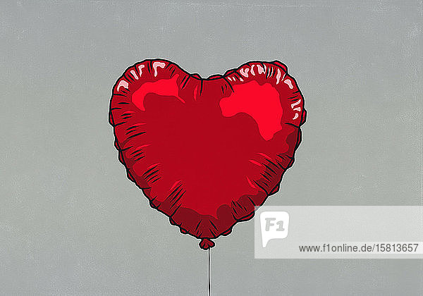 Red heart shape helium balloon