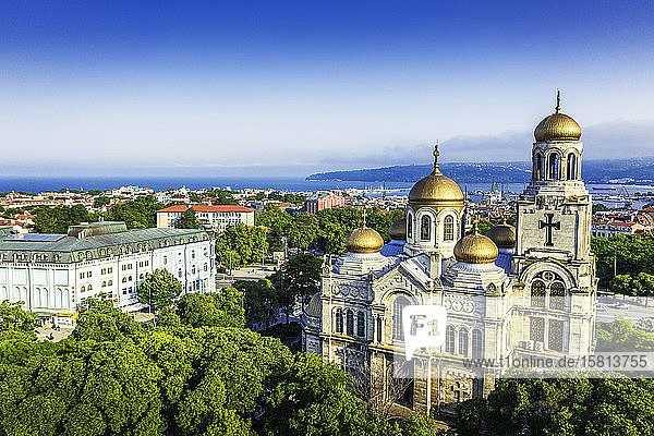 Aerial view by drone of Mother of God Cathedral  Varna  Bulgaria  Europe