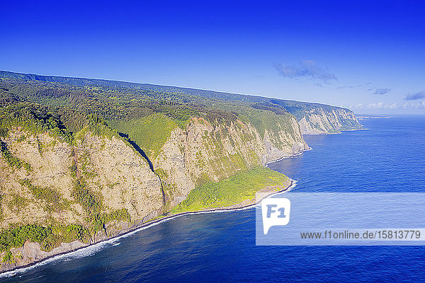 Aeriall view of Waipio valley north shore  Big Island  Hawaii  United States of America  North America