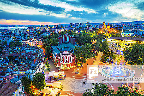 Aerial view by drone of State Opera House  Varna  Bulgaria  Europe