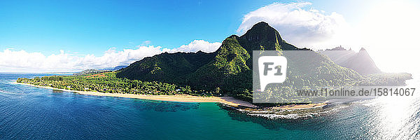 Aerial view by drone of Tunnels Beach  Haena State Park  Kauai Island  Hawaii  United States of America  North America
