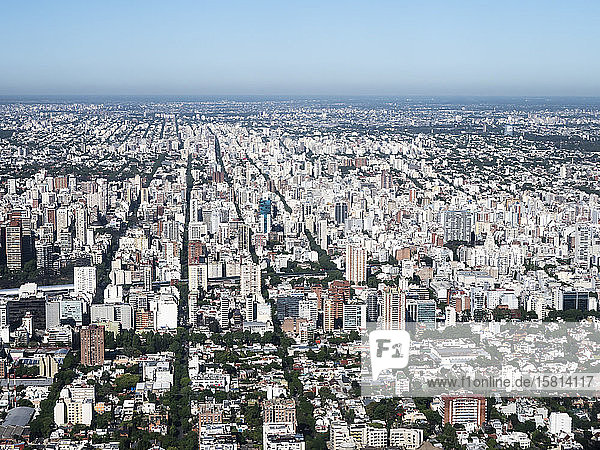 An aerial view of the capital city of Buenos Aires taken from a commercial flight  Buenos Aires  Argentina  South America