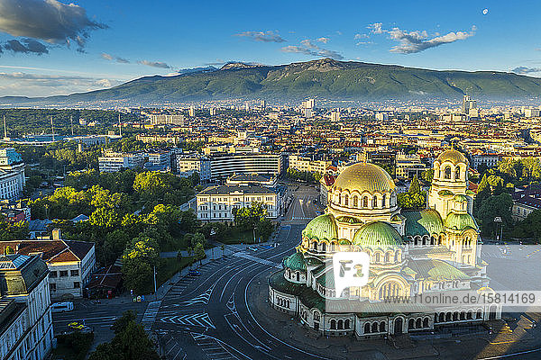 Aerial view by drone  Alexander Nevsky Russian Orthodox Cathedral  Sofia  Bulgaria  Europe