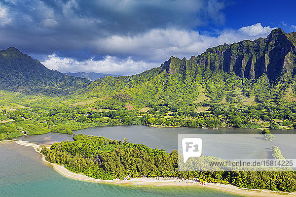 Aerial view by drone of Kaneohe Bay  Oahu Island  Hawaii  United States of America  North America