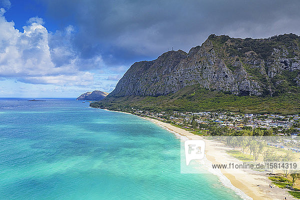 Aerial view by drone  Waimanalo beach  Oahu Island  Hawaii  United States of America  North America