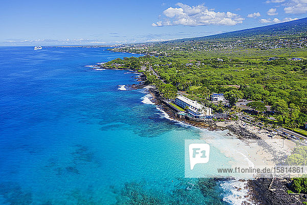 Aerial view of Magic Sands Beach Park  Big Island  Hawaii  United States of America  North America