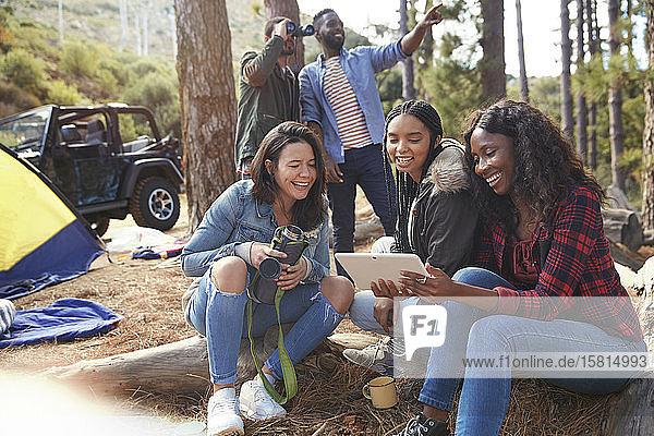 Lächelnde junge Freundinnen,  die auf dem Campingplatz ein digitales Tablet benutzen