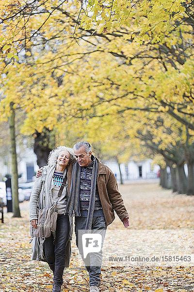 Zärtliches älteres Paar  das zwischen Bäumen und Blättern im Herbstpark spazieren geht