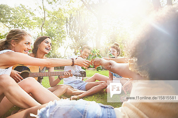 Enthusiastic young friends playing guitar and toasting beer bottles in sunny summer park