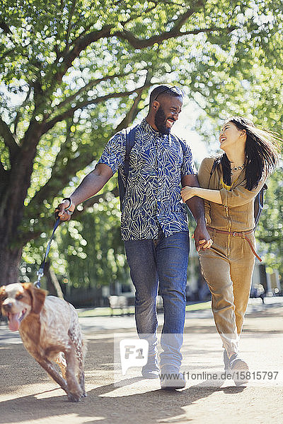Smiling  happy young couple walking dog in sunny park