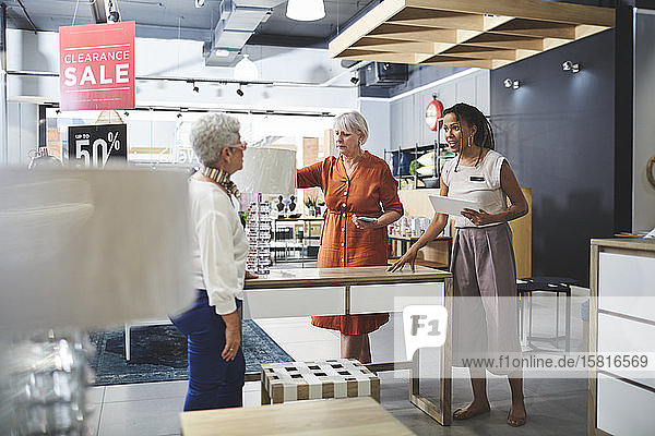 Women shopping in home decor shop