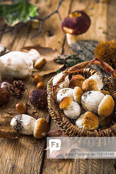 Autumn still life with mushrooms