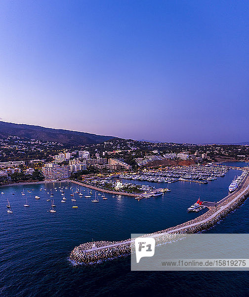 Spain  Balearic Islands  Mallorca  Portals Nous  Puerto Portals  Aerial view of luxury marina at sunset