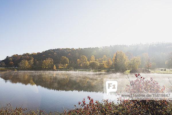 Deutschland  Nordrhein-Westfalen  Klarer Himmel über dem Eiserbachsee an einem sonnigen Herbsttag