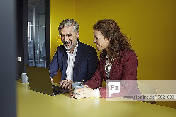 Businessman and businesswoman working together on laptop in office cubicle
