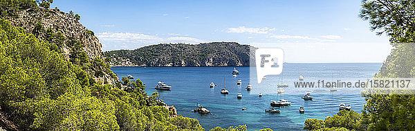 Spanien  Balearen  Camp de Mar  Panorama von verschiedenen Booten  die in der Bucht der Insel Mallorca schwimmen
