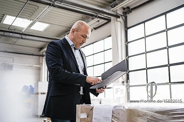 Geschäftsmann mit einem Ordner in einer Fabrik