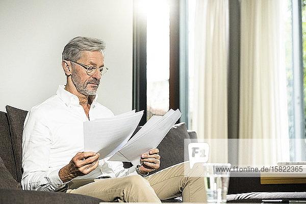 Senior man with grey hair in modern design living room sitting on couch working on papers in home office