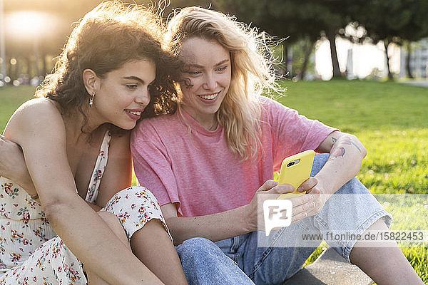 Zwei junge Frauen benutzen ein Smartphone auf einer Wiese im Park